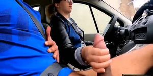 A stranger gets into my car and pulls out his cock Shocked