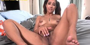 Pigtails Latin stepdaughter rubs her pussy after dirty talk