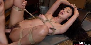 Asian bdsm sub bound and clamped before kinky fucking