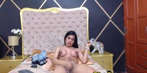 Busty Shemale Jerking her Big Cock