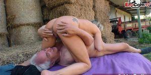 EROCOM.TV - German mature grandma fucks outdoor in amateur porn
