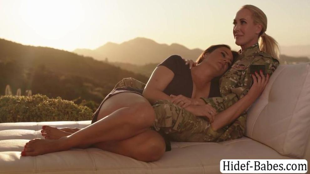 Milf soldier and her wife enjoy licking their pussies outside