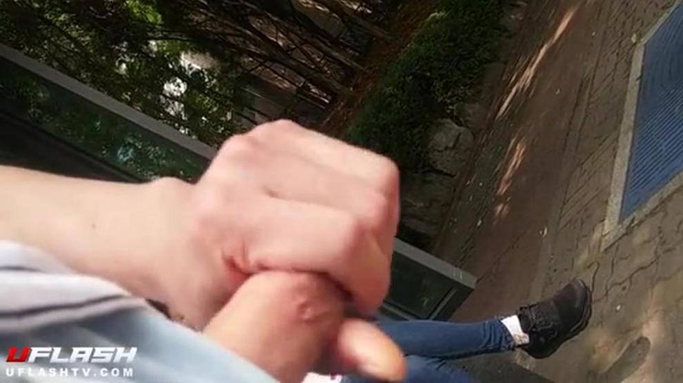 Flash Asian Teen at Bus Stop