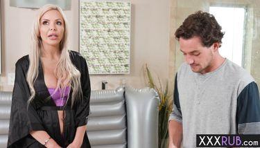 Blonde MILF with big tits professional sucks a cock (Nina Elle ...