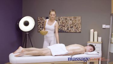 Massage Rooms Sexy pert young masseuse Katy Rose gives oily hand ...