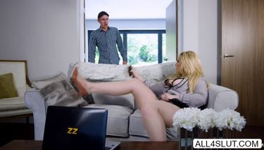Horny big tits blonde MILF Ashley Down caught masturbating and ...