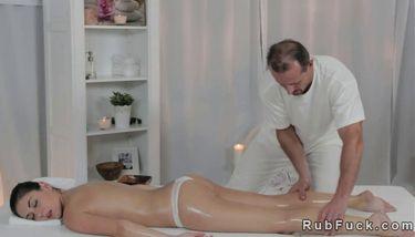 Brunette on massage table gets fucked Hot Bum Brunette Gets Oiled And Fucked On Massage Table Tnaflix Porn Videos